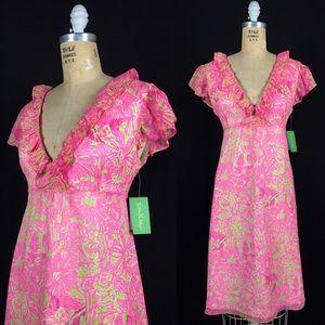NWT Lilly Secret Garden Silk Chiffon Clare Dress 8